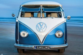 Poster  Volkswagen - Brendan Ray Blue Kombi
