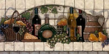 Poster Wine, Fruit and Cheese Pantry