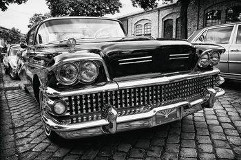 Cars - Black Cadillac Print på glas