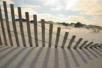 Fence on the Beach Print på glas