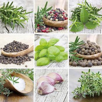 Green Herbs Print på glas