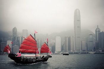 Hong Kong - Red Boat Print på glas