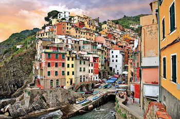 Italy - Romantic City Print på glas