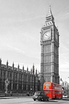 London - Big Ben and Red Bus Print på glas