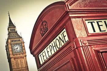 London - Big Ben and Red Telephone Box Print på glas
