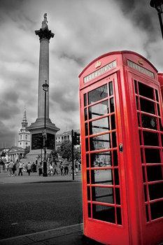 London - Red Telephone Box Print på glas