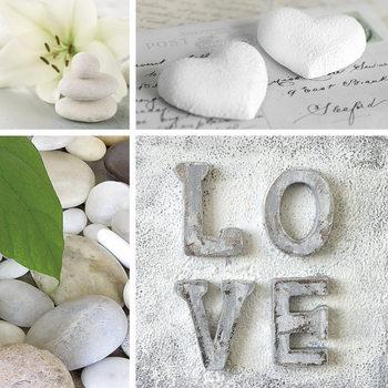 Love - White Collage Print på glas