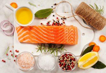 Salmon Parcel Print på glas