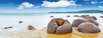 Stones on the Beach Print på glas