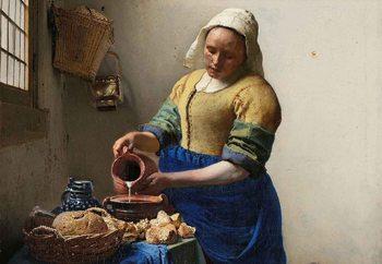 The Milkmaid, Vermeer Print på glas