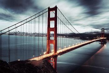 Quadri in vetro Golden Gate - Dark, San Francisco