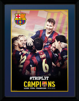 Barcelona - Triple Champions 15 rám s plexisklem