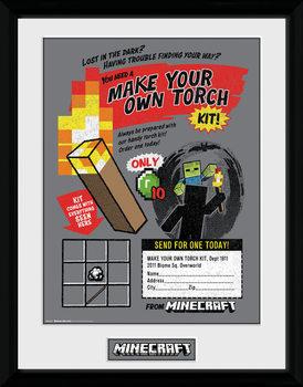 Minecratf - Make Your Own Torch Zarámovaný plagát