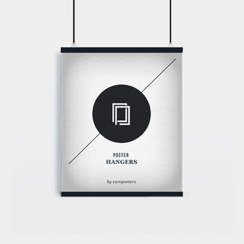EBILAB Perchas para pósteres - 2 piezas longitud 40 cm  negro