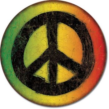 Rasta Peace Sign Metalen Wandplaat