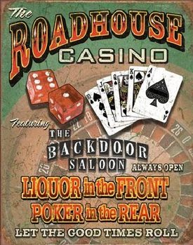 ROADHOUSE BAR & CASINO Metalen Wandplaat