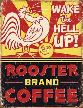 Rooster Brand Coffee Metalen Wandplaat