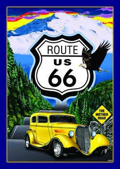 ROUTE 66 Metalen Wandplaat