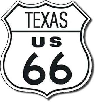 ROUTE 66 - texas Metalen Wandplaat