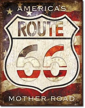 Rt. 66 - Americas Road Metalen Wandplaat