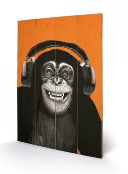 Apen -  Headphones Schilderij op hout