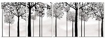 Black silhouettes of trees Schilderij