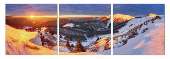 Golden sunset over the mountains Schilderij