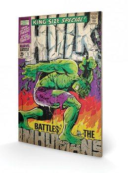 Hulk - Battles Humans Schilderij op hout