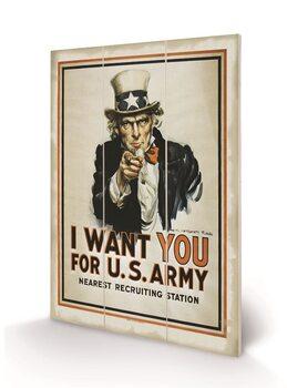 I Want You (Uncle Sam) Schilderij op hout