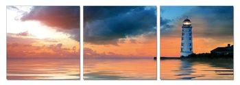 Lighthouse at sunset Schilderij