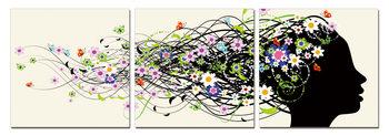 Modern Design - Hair full of Flowers Schilderij