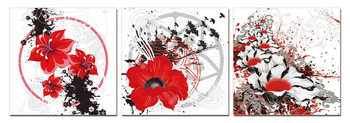 Modern design - red flowers Schilderij