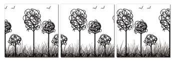 Modern Design - Trees with Birds Schilderij