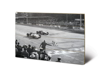 Monaco - Finish (Zwart Wit) Schilderij op hout