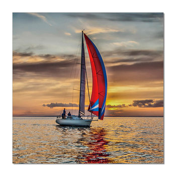 Sailing boat at sea Schilderij