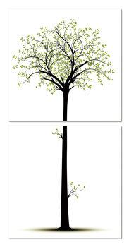 Silhouette of a tree Schilderij