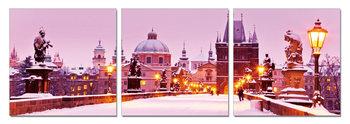 Snowy city Schilderij