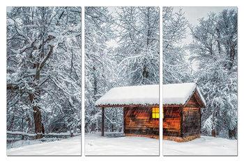 Snowy cottage Schilderij