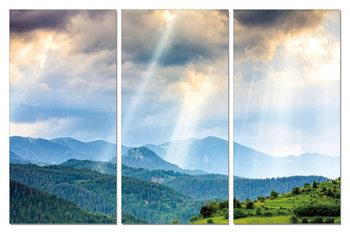 Sun rays through clouds Schilderij