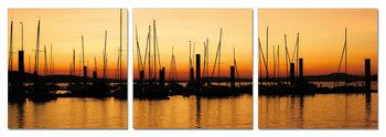 Sunset over pier Schilderij