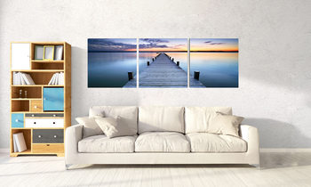 Sunshine over pier Schilderij