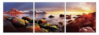 Vibrant stones on coast Schilderij