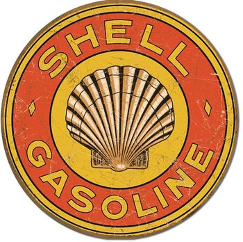 SHELL GASOLINE - 1920's Round Metalen Wandplaat