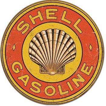 SHELL GASOLINE - 1920's Round Metalplanche
