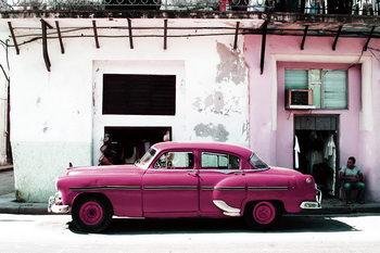 Skleněný Obraz Auta - Růžový Cadillac