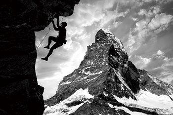 Skleněný Obraz Buď odvážný - Vylez na horu