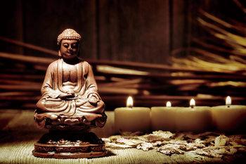 Skleněný Obraz Buddha - svíčky