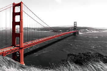 Skleněný Obraz Golden Gate - Red Bridge b&w, San Francisco