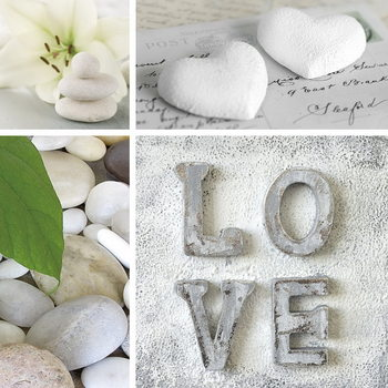Skleněný Obraz Láska - Bílá koláž