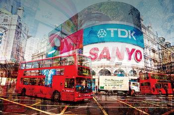 Skleněný Obraz Londýn - Koláž Picadilly Circus